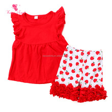 2017 wholesale kids red top and red base white spots short ruffle boutique sets