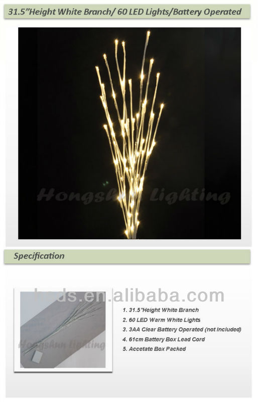 "39"" Height White Snow Branch/30 LED Lights/Battery Operated"