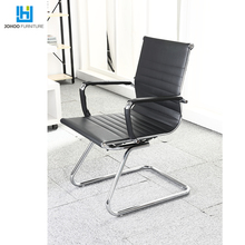 office furniture modern PU leather bow metal frame meeting conference hall room gaming chair without wheels