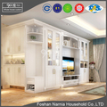 European style modern glass door tv cabinet with shoe display cabinet