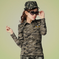 Shopping Onlin Factory Price Lady Clothing Camouflage Long Sleeve 100% Cotton Womens Polo Shirt