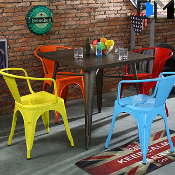 steel retro cafe arm metal furniture , japanese dining room chair