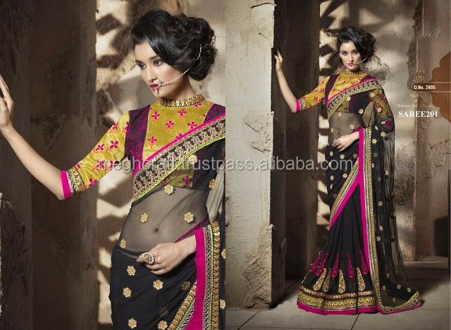 WHOLESALE BRIDAL SAREE-PARTY WEAR HEAVY SAREE-NET SAREE-EMBROIDERY WORK SAREE-PAKISTANI BLACK SARI