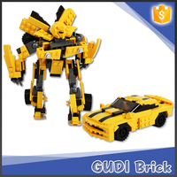 221 PCS ABS plastic model yellow car toy and robot toy building blocks for kid