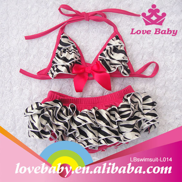 Wholesale fashion high quality zebra kids swimsuit models