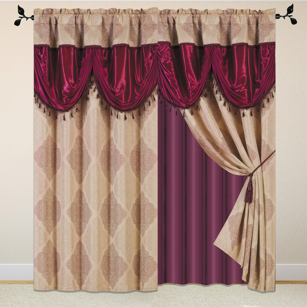 Luxury curtain with attached Fancy Valance.valance curtains