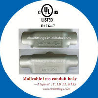 "UL listed malleable conduit outlet body T type 1/2""--4"""