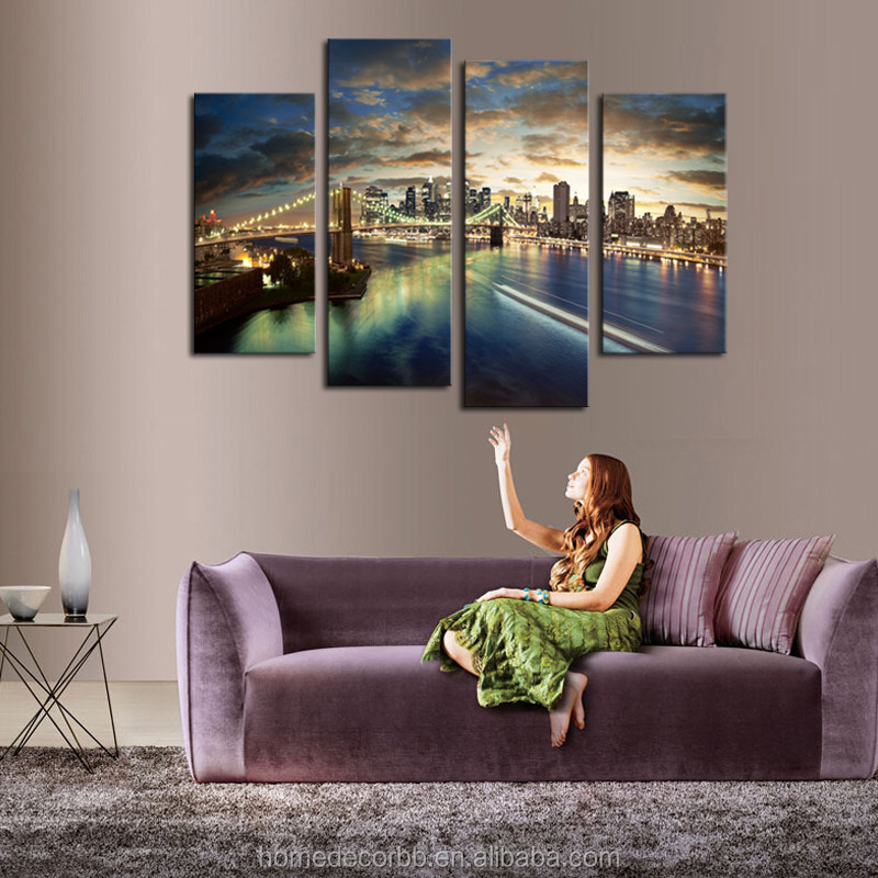 Wholesale cheap wall art canvas paintings lights up 4 for Buy cheap canvas art
