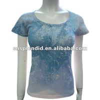 ladies organic slim fitted 100% cotton high quality city t shirts