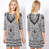 Cheap in stock white and black print totem short summer woman dress wholesale