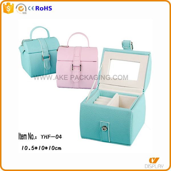storage leather finished plastic jewelry box hinge with mirror