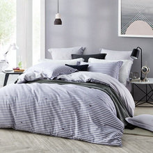 Cotton Four Pieces Bed Linen Striped Duvet Cover Bedding Set