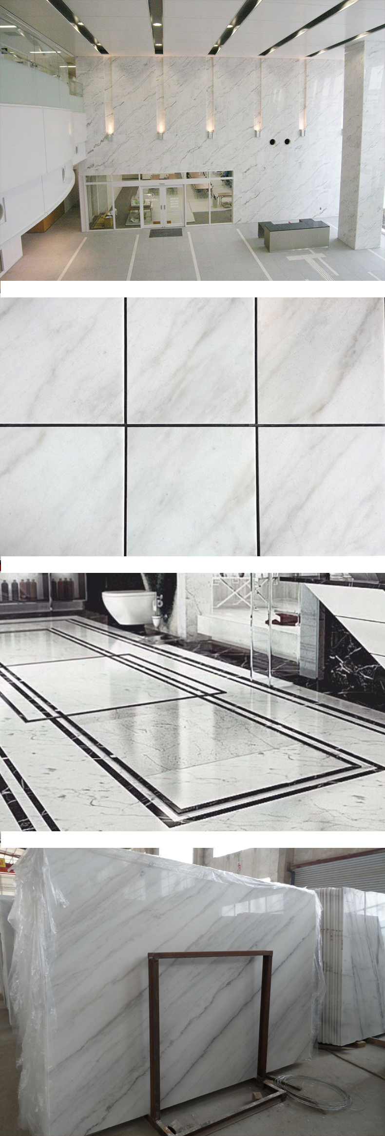 Flooring tile polished guangxi white marble with grey veins