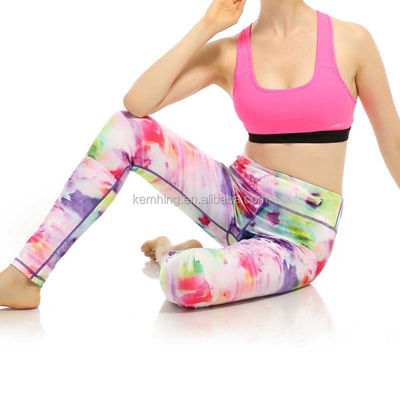 Colorful sublimation fitness women leggings yoga gym fitness