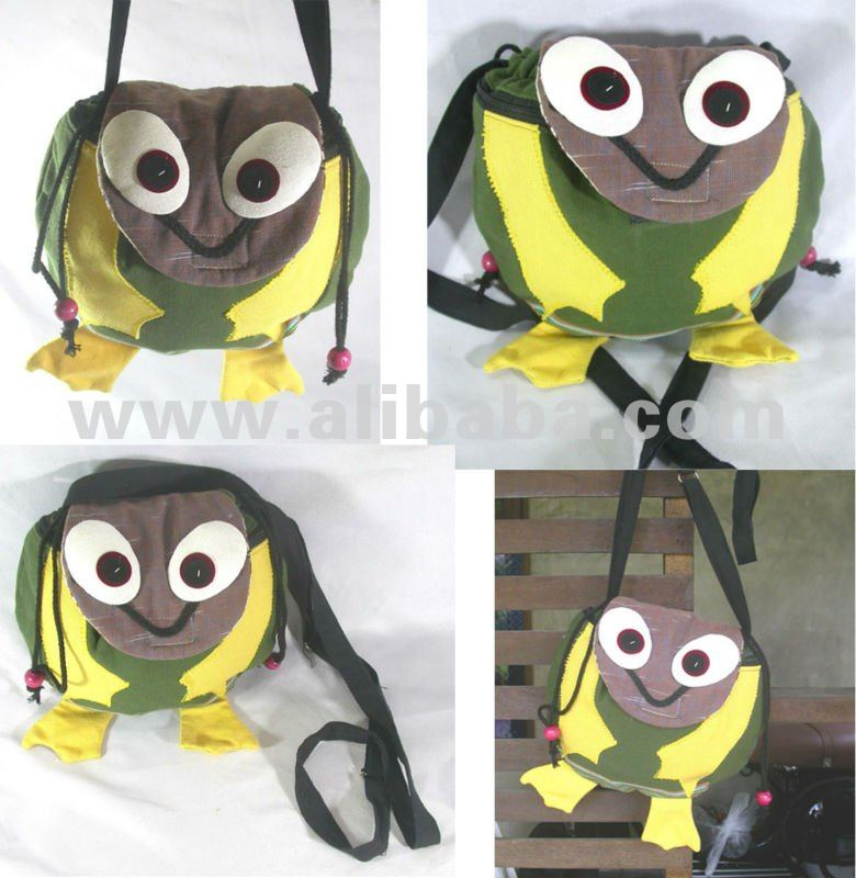 Thai Handmade Patchwork Forg Sling Bags Shoulder Bag Purse Animal bag