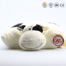ICTI OEM customization animal cow shaped toy 2 in 1 neck pillow