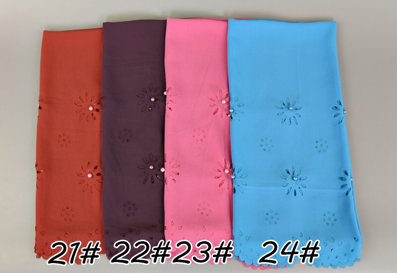 Plain Bubble Chiffon With White Pearl High Quality Muslim Scarf Laser Cut Large Size Hijab