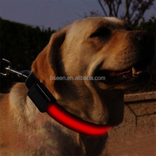 New illumination Colour nylon LED dog collar with reflective strip glow flashing safety protect your dog at night
