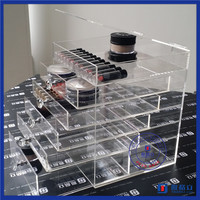 2016 China supplier customized large clear acrylic makeup organizer with 6 drawers