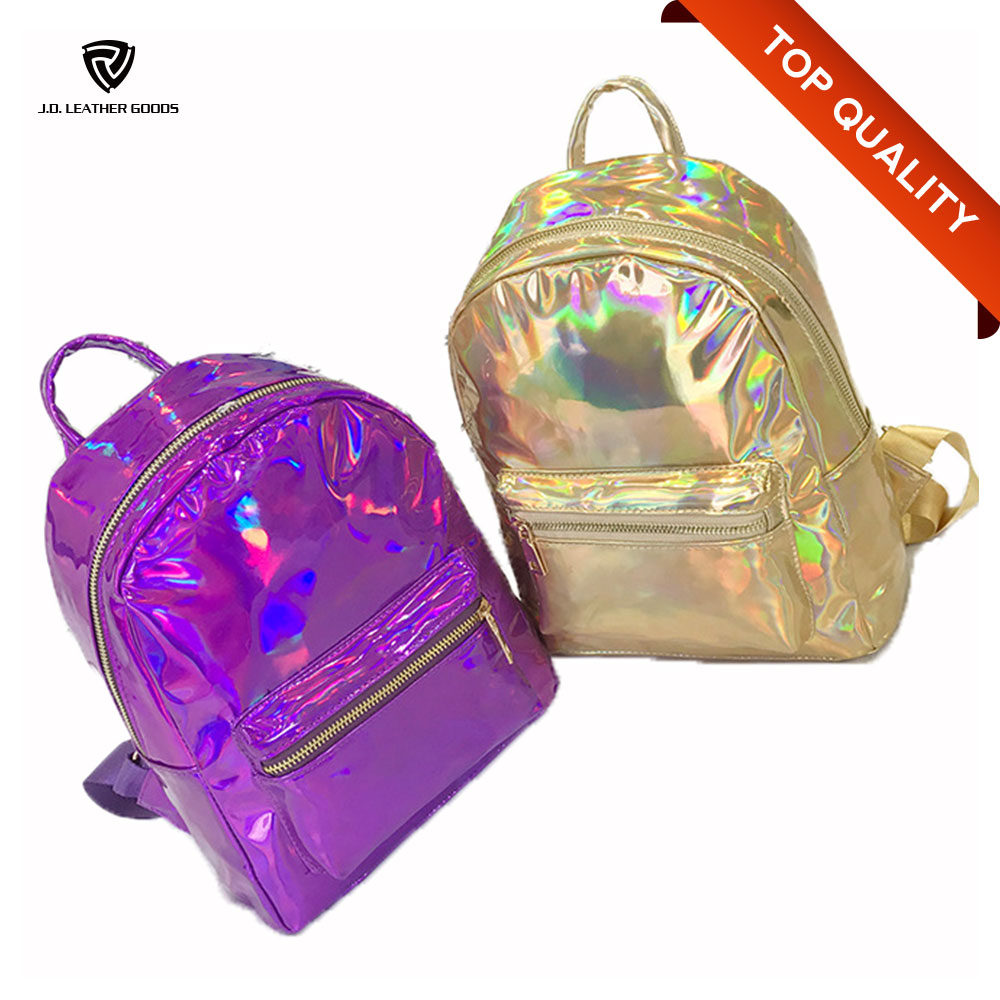 Women Fashion Hologram Holographic Laser Drawstring Jelly Backpack