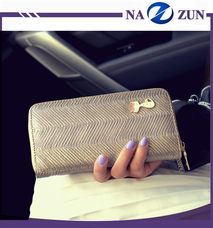 Hot Selling Fashion Ladies drawing material wallet heavy duty zipper pure color wallet with small bowknot