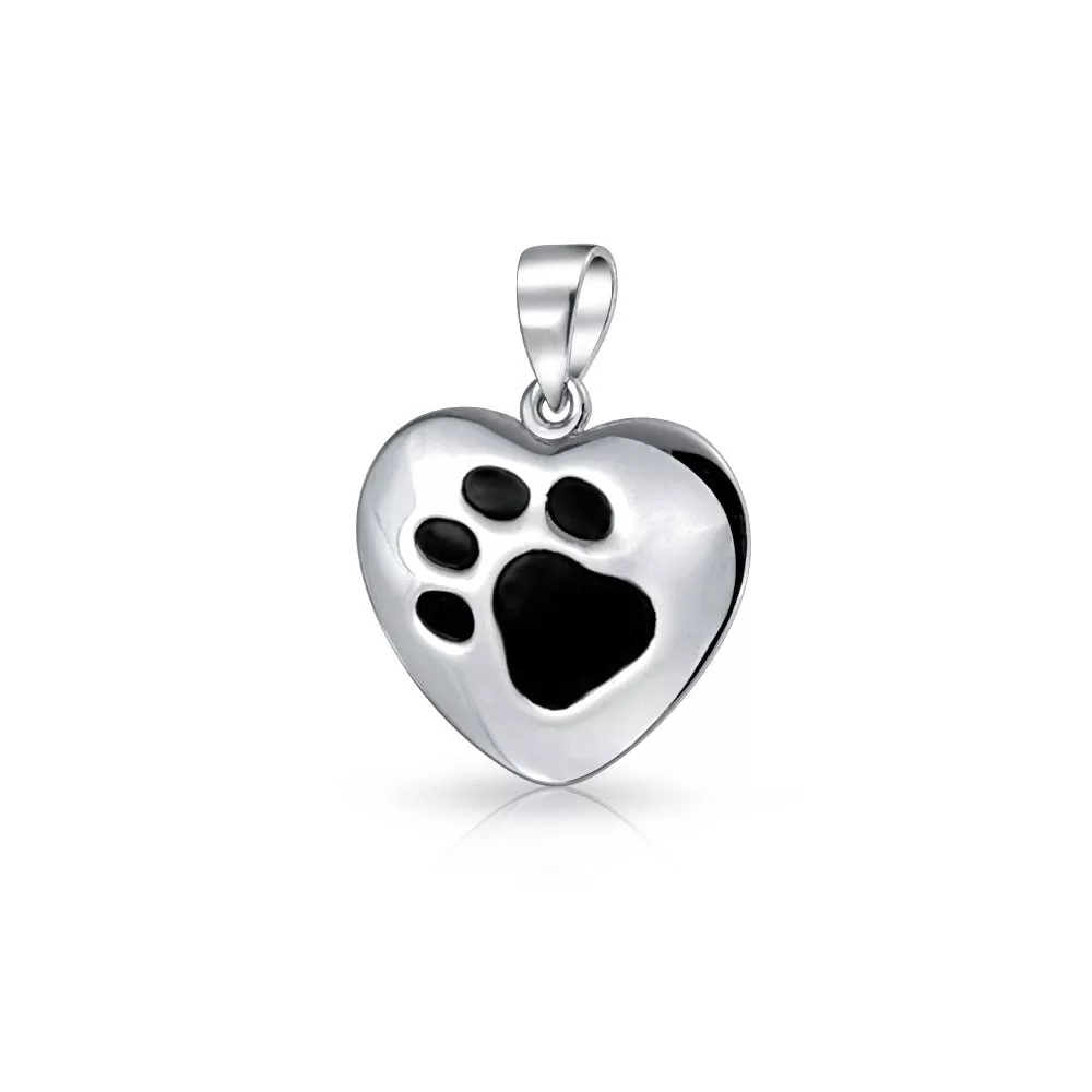925 Silver Dog Paw Heart Design Pendant Necklace Direct Wholesale Price