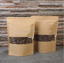 Custom size stand up kraft paper bag for food packaging