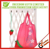 Polyester Mini Handled Foldable Strawberry Tote Bag