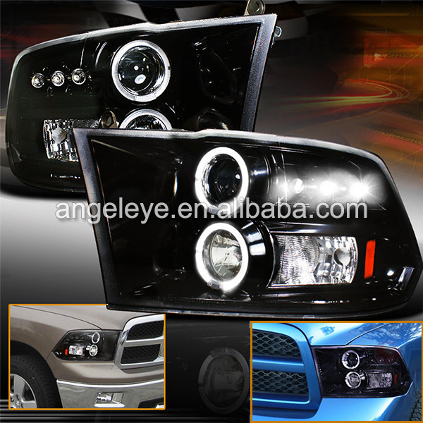FOR Chrysler Dodge Ram 1500 LED Angel Eyes Headlight 2009-2015 Year JY