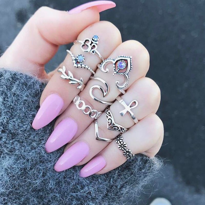Artilady 10Pcs/set punk latest finger <strong>ring</strong> designs, gold <strong>ring</strong> jewelry for girls gift