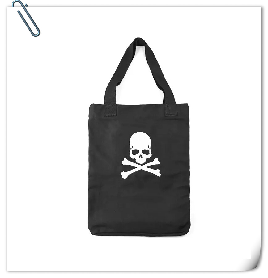 Canvas shoulder bag skull embroidered handbag for women and men