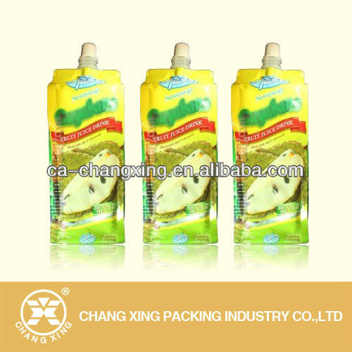 Fruit juice packing stand up spout pouch for soursop juice packaging