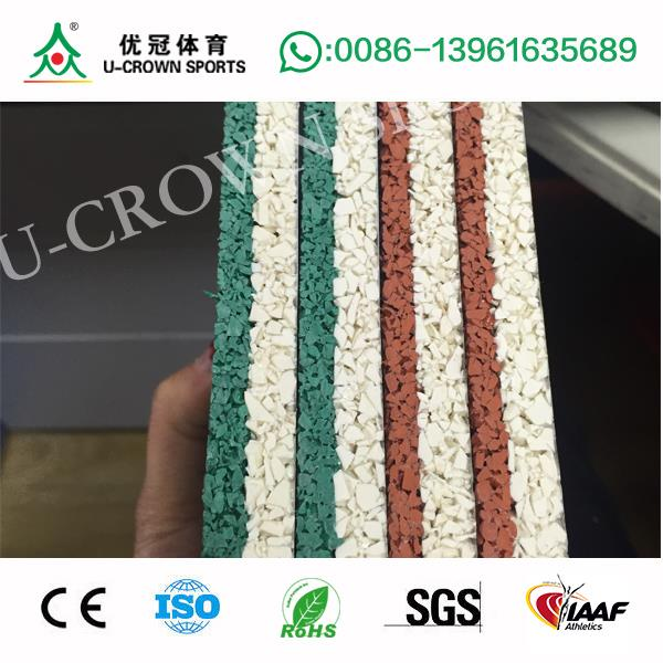 Hot selling The rubber running track material colorful artificial grass running track with low price