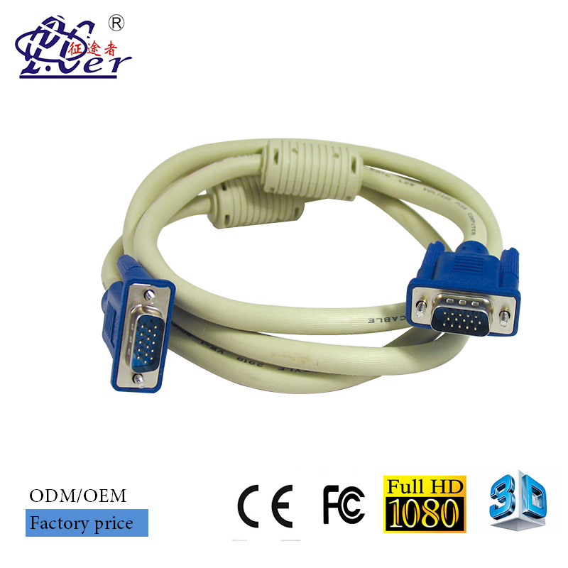 Double Mold VGA Cable with dual ferrite bead M/M 30M VGA cable