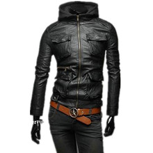 walson Whole high quality winter thick PU leather coat clothing long sleeve with hat leather jacket men