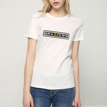 Newest selling white simple letter beautiful strass women t shirt