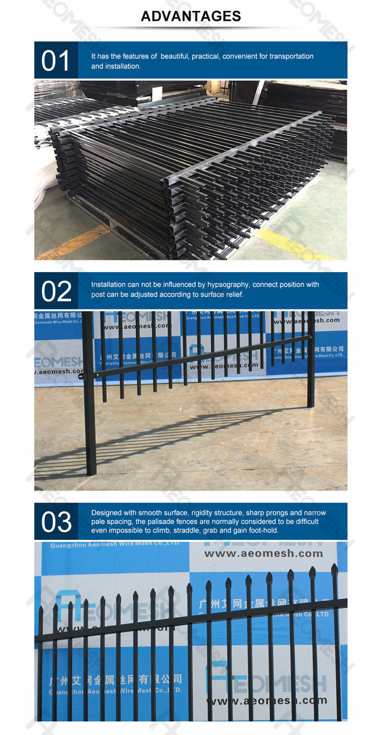 Galvanized solid steel palisade fencing