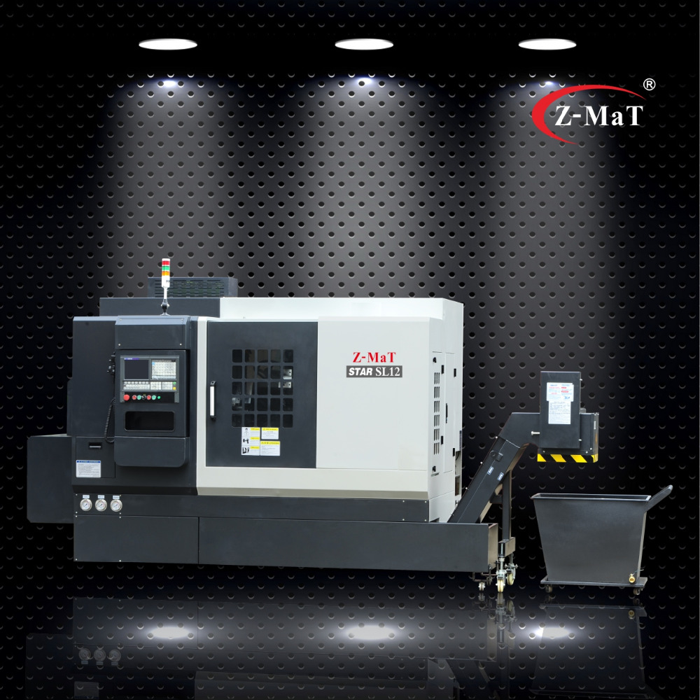 SL12 Z-MaT China metalworking 550mm 35 degree slant bed linear rail CNC metal turning lathe