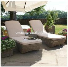 2017 Contemporary portable luxury classic design round rattan beach chaise lounge furniture