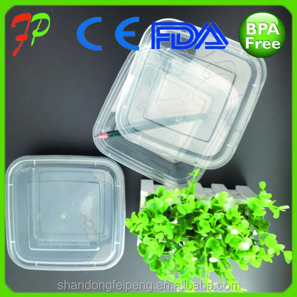 Eco-friendly PP material plastic square water resistant food container