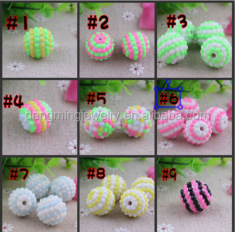Latest!!!Wholesale chunky resin neon striped beads Halloween&Christmas in bulk, resin striped beads for jewelry making