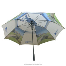 Customized Dots Printing Straight Rod Windproof Storm Golf Umbrella
