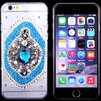 Luxurious White and Blue Flower Diamond Hard Case Covering for iPhone 6 Plus