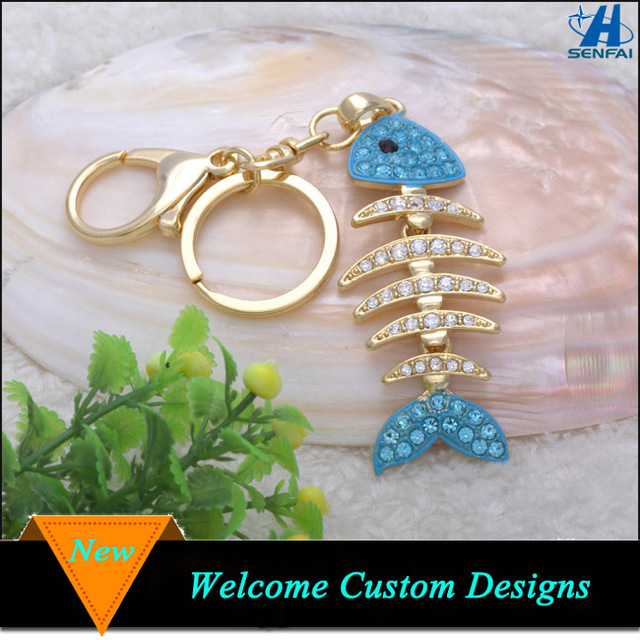 Custom gold rhinestone fishbone metal alloy keychain, flexible fish bone key ring key chain
