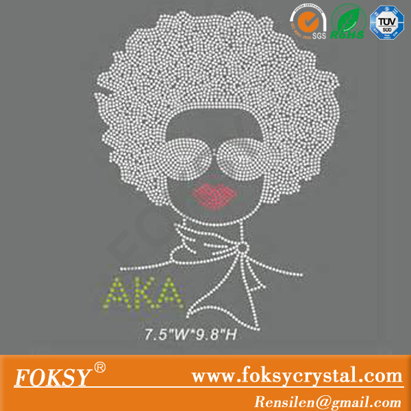 AKA afro girl rhinestone hotfix transfers for T-shirts wholesale