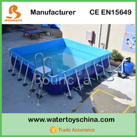 Outdoor Metal Frame Swimming Pool / Rectangular Above Ground Metal Swimming Pool