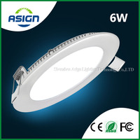 Ultra Thin LED Downlight 6w LED Panel Light Round AC85-265V CE ROHS Include Drivers Cool White / Warm White 600lm