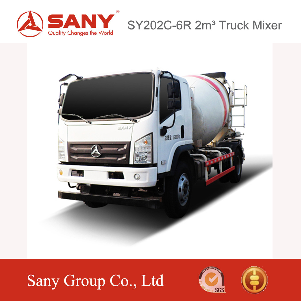 SANY SY202C-6R 2m3 Concrete Mixer Truck High Safe Concrete Mixer Truck Dimensions