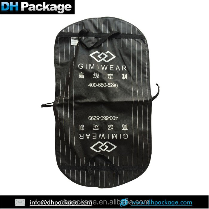 black custom printing wally garment bag, high quality wardrobe bags, non woven wedding garment bag