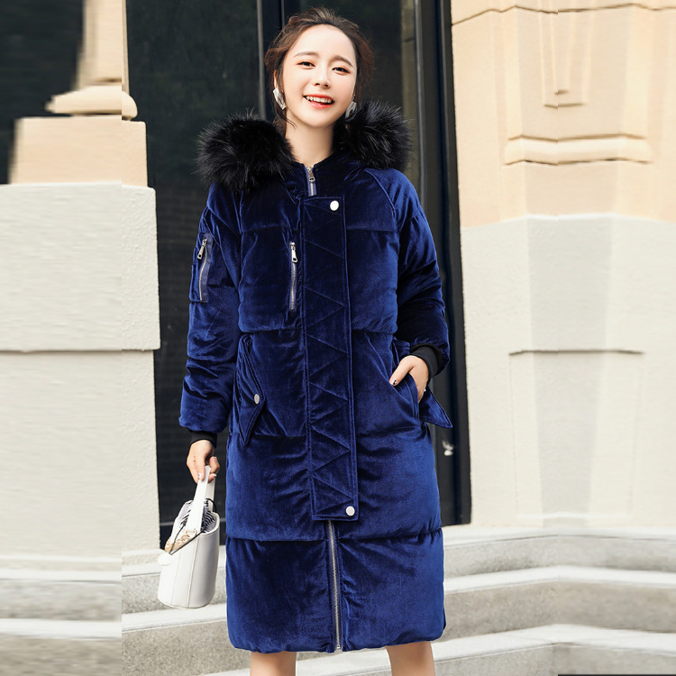 2017 Hot Sale Fashion Velvet Jacket Overcoat Women With Fur Collar